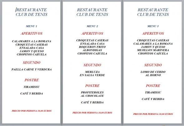 Imagen: Menús de empresa opciones 1, 2 y 3 - Restaurante Club de Tenis Jávea