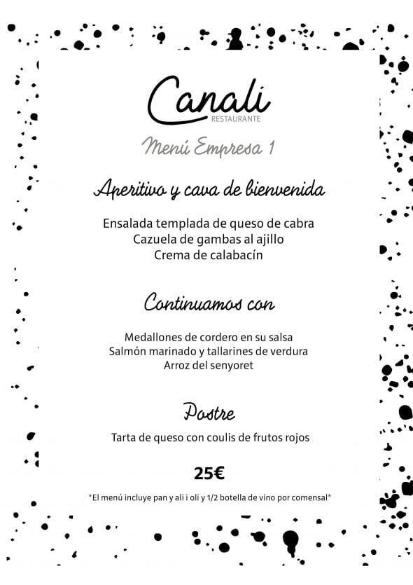 Imagen: Menú de empresa 1 - Restaurante Canali