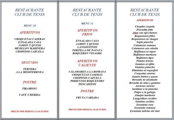 Imagen: Menús de empresa, opciones 10 y 11 - Restaurante Club de Tenis Jávea