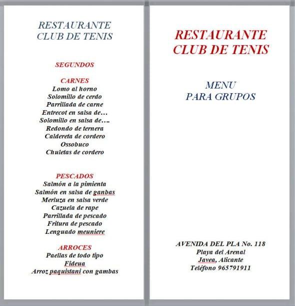 Imagen: Menú para grupos - Restaurante Club de Tenis Jávea