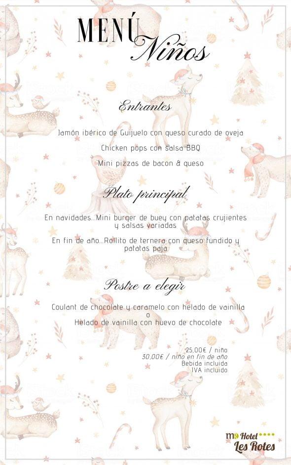 Imagen: Menú para niños en el Hotel Les Rotes