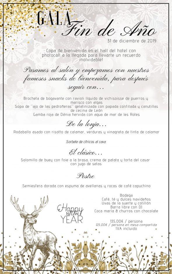 Imagen: Menú de Nochevieja en el Hotel Les Rotes