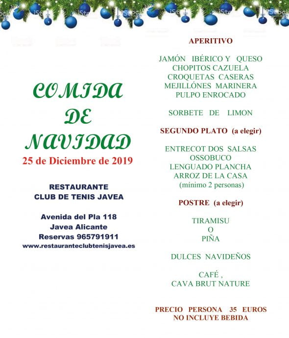 Afbeelding: Christmas Menu - Jávea Tennis Club Restaurant