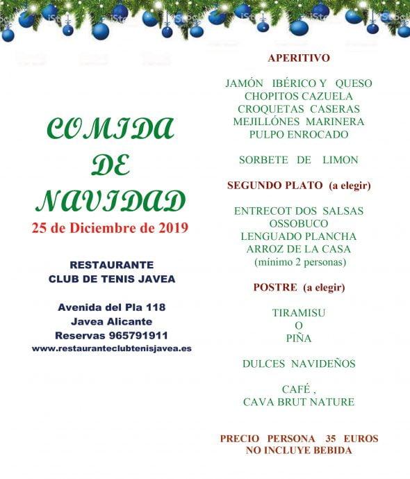 Image: Menu de Noël - Restaurant du club de tennis Jávea