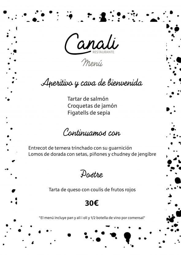 Imagen: Menú en Restaurante Canali