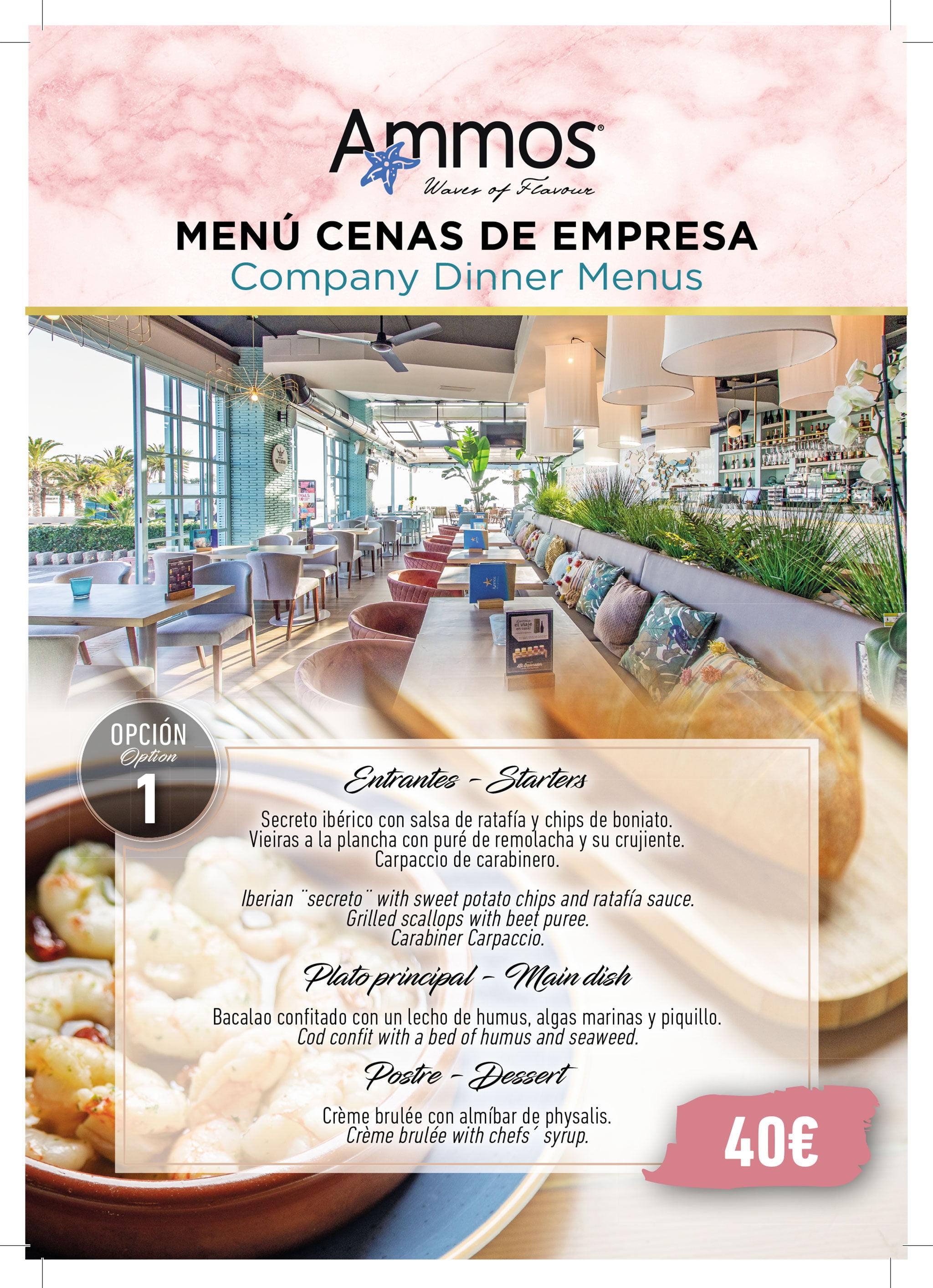Menú de empresa, opción 1 – Restaurante Ammos