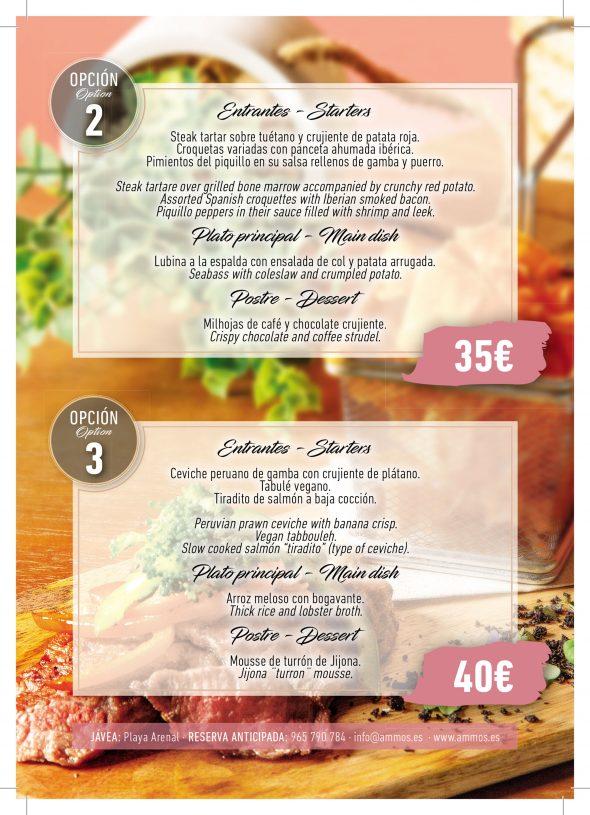 Imagen: Opciones 2 y 3 de menú de empresa en Restaurante Ammos