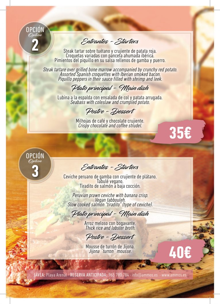 Opciones 2 y 3 de menú de empresa en Restaurante Ammos