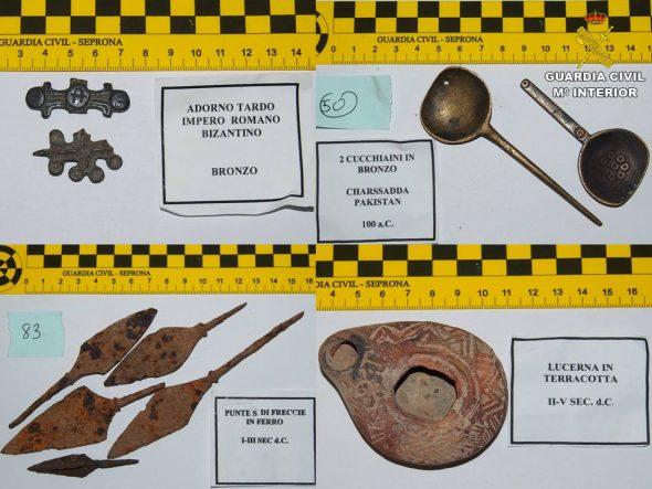 Imagen: Piezas recuperadas por la Guardia Civil