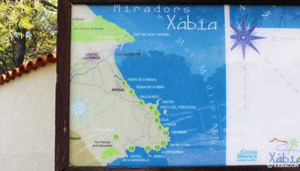 Imagen: Plano de la ruta de los miradores de Jávea. El mirador Castell de la Granadella es el punto 14.