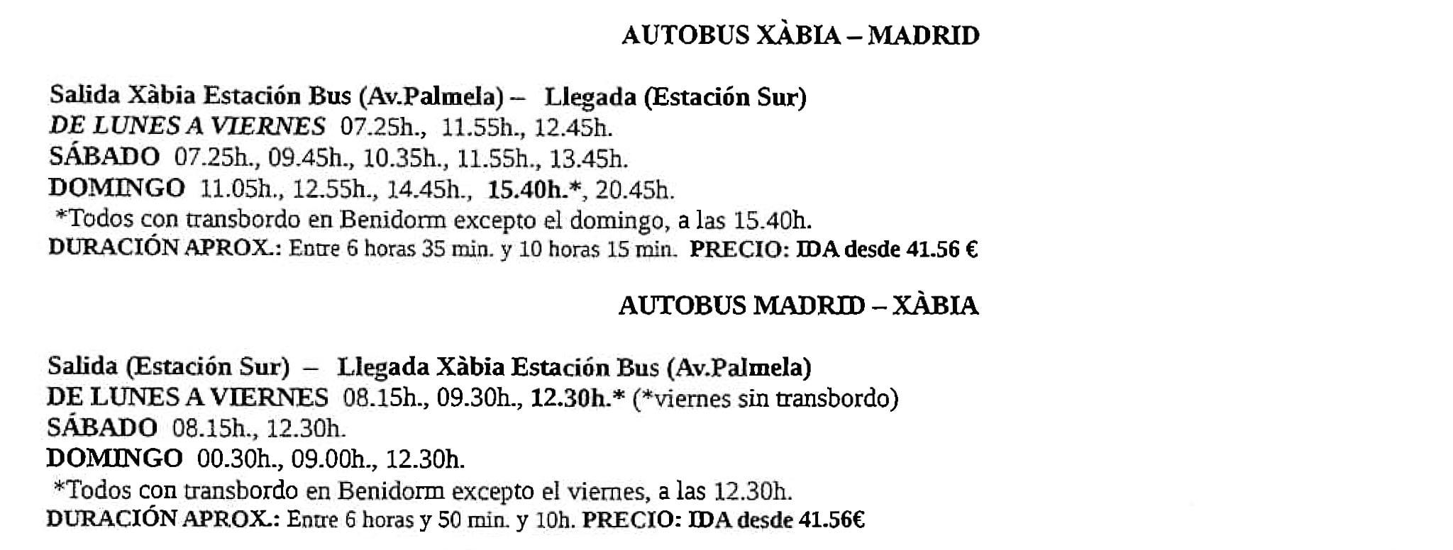 Autobús Jávea – Madrid / Madrid – Jávea