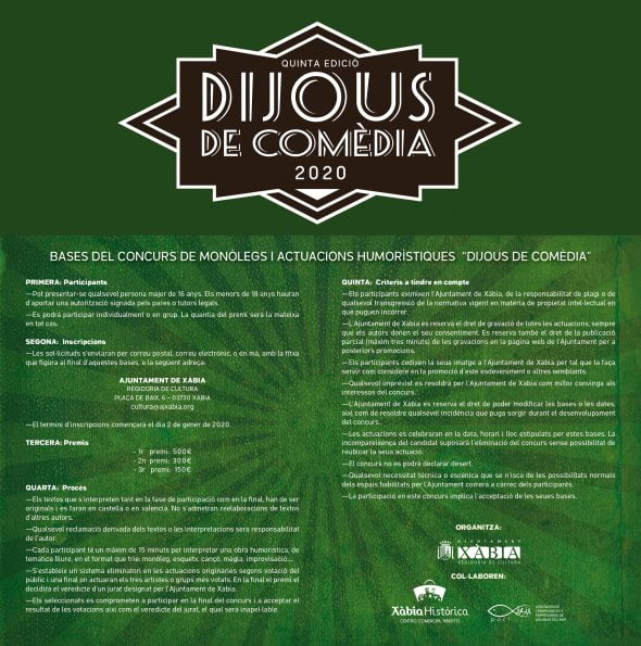 Immagine: Regole del concorso 'Dijous Comèdia 2020'