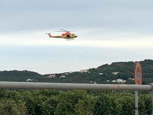 Imagen: Helicóptero del Consorcio de Bomberos durante la búsqueda
