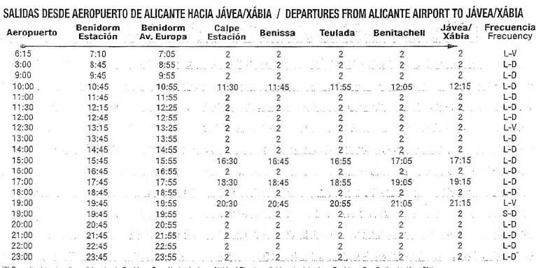 Horario de autobuses del aeropuerto de Alicante a Jávea