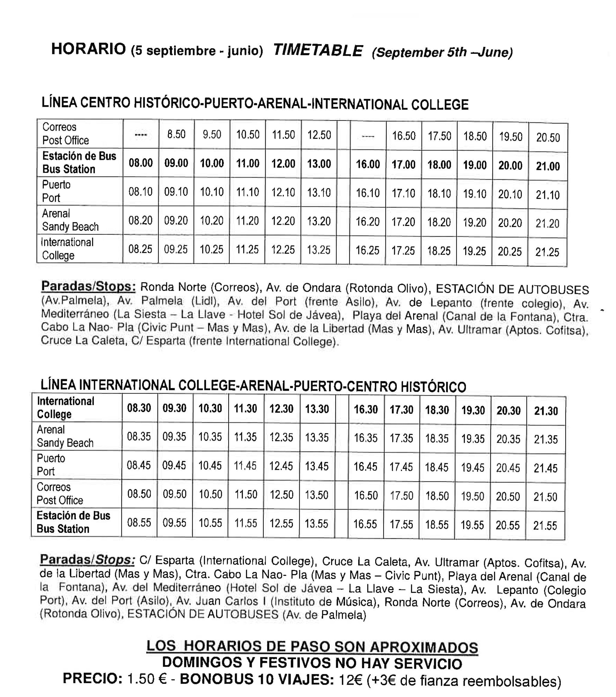 Horario de autobuses del centro de Jávea al puerto y al International College