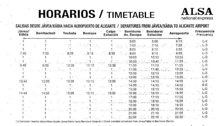 Horario de autobuses de Jávea al Aeropuerto de L'Altet (Alicante)