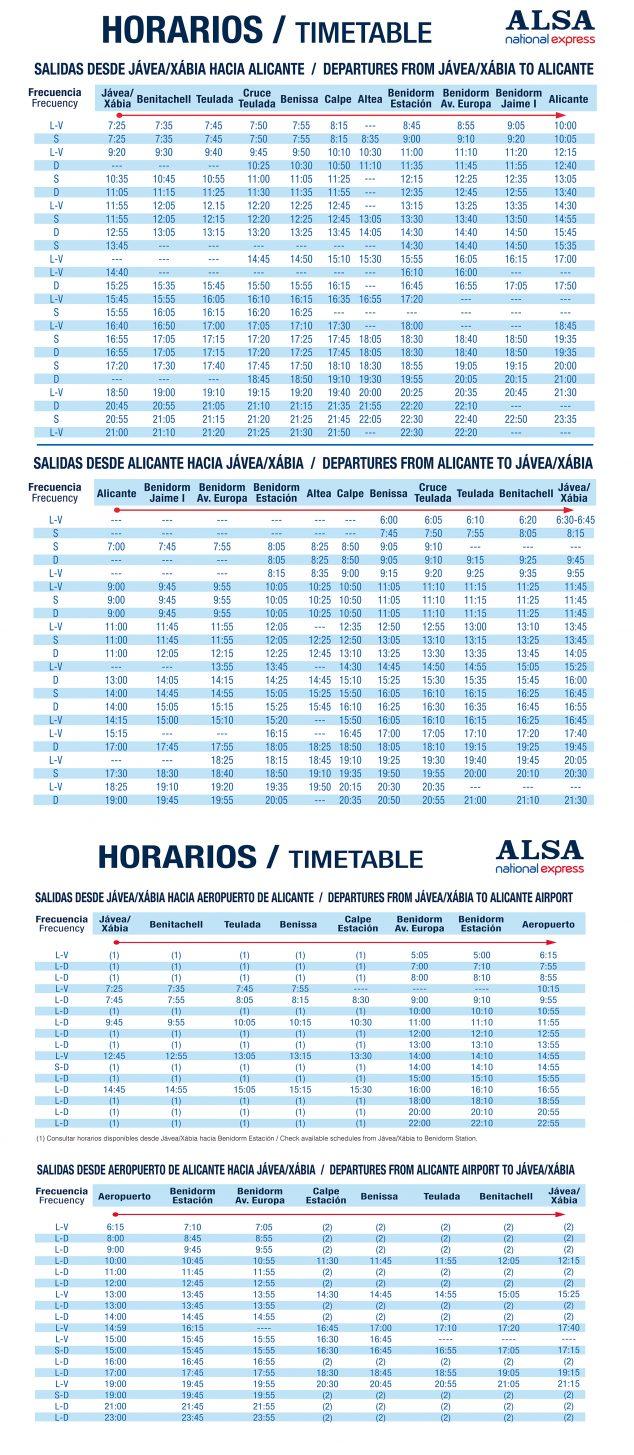 Imagen: Horario autobuses Jávea - Alicante / Alicante - Jávea