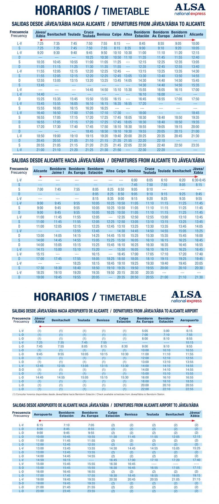Autobuses Jávea-Alicante, Alicante-Jávea y rutas hasta el aeropuerto de El Altet