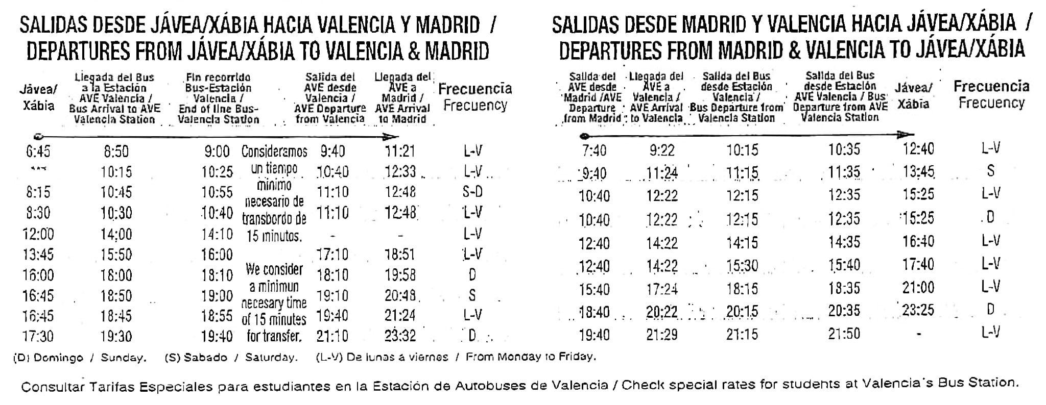Horario autobuses Jávea-Valencia-Madrid y viceversa