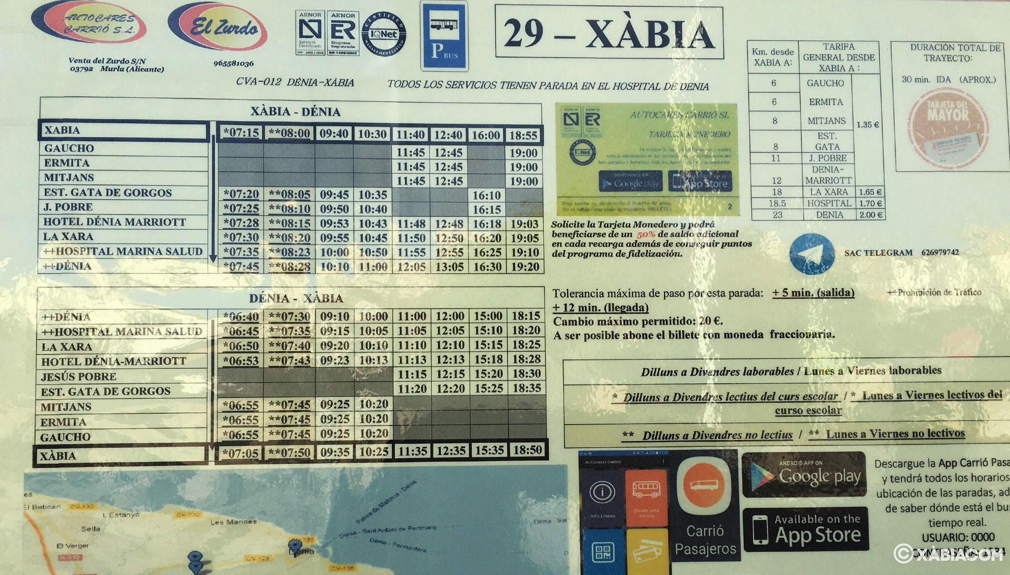 Horarios de autobús Dénia-Jávea