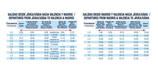 Imagen: Horarios de autobús con enlace al AVE desde Jávea a Madrid y desde Madrid a Jávea