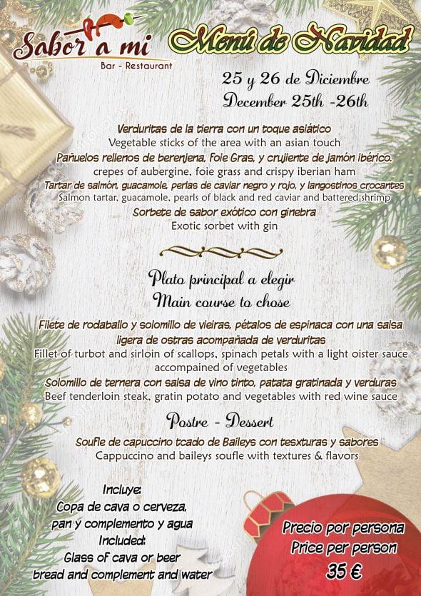 Immagine: menu di Natale al ristorante Sabor a mi