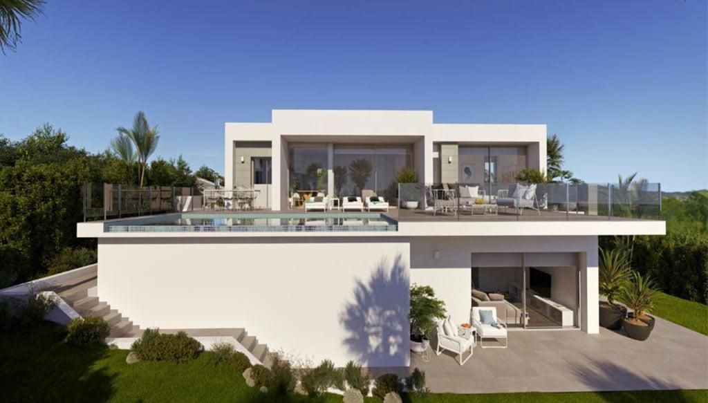Fachada de una villa de lujo en Cumbres del Sol – Atina Inmobiliaria