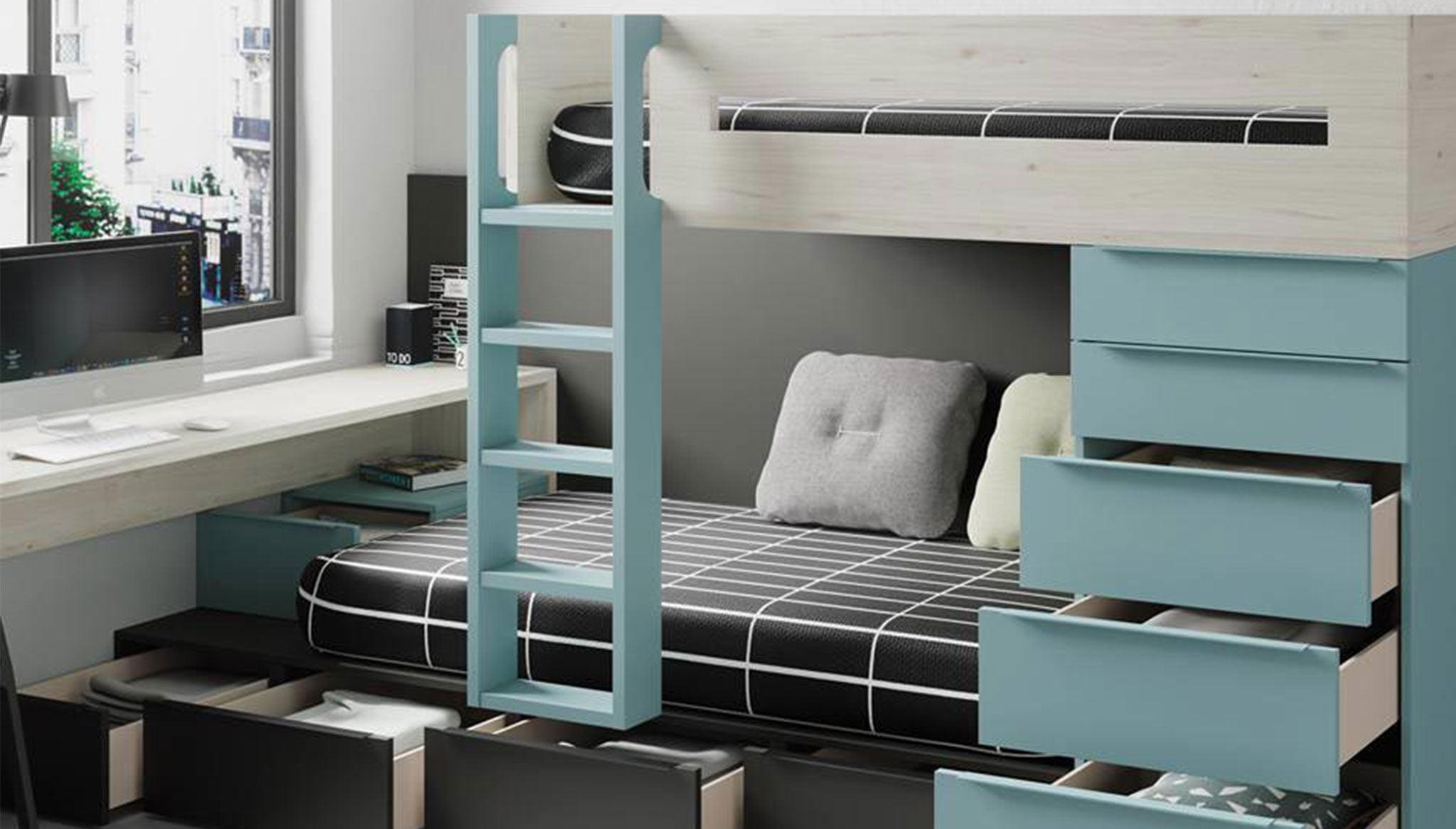 Habitación infantil pensada para poder guardar muchas cosas y mantener el orden – Muebles Martínez