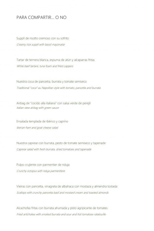 Imagen: Nueva carta del Restaurante Da Giulia, página 1