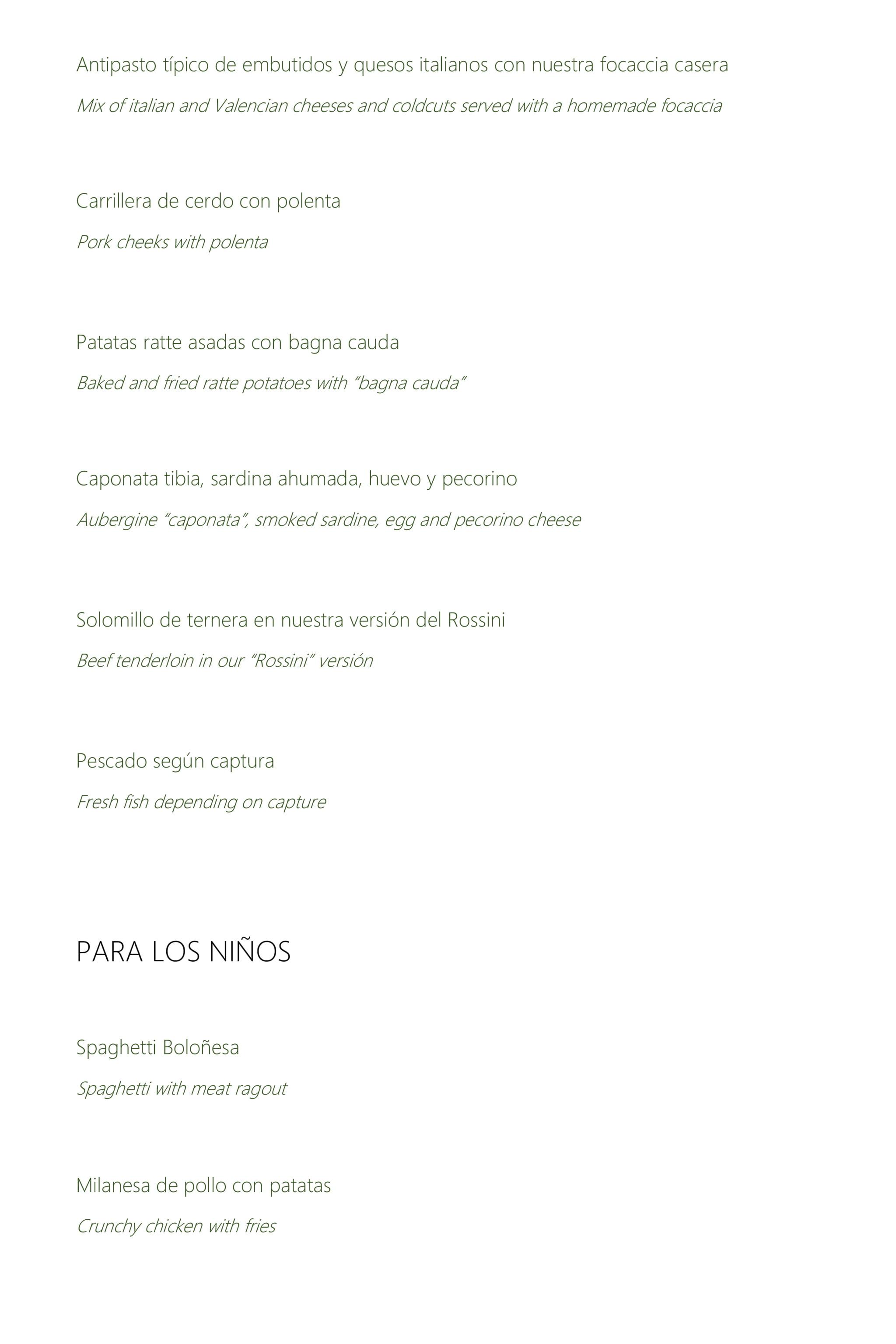 Nueva carta en el Restaurante Da Giulia, página 2