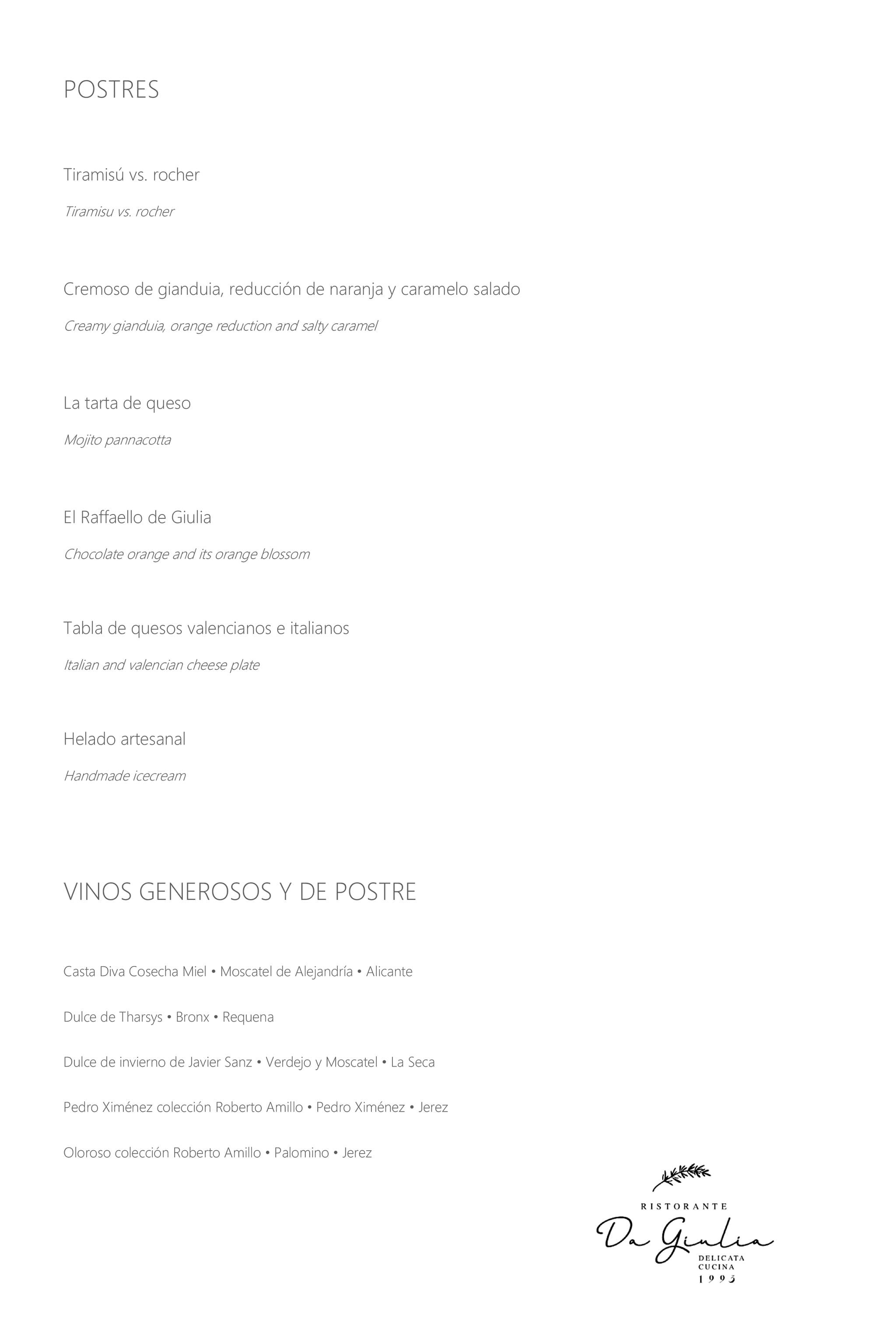 Nueva carta de Restaurante Da Giulia, página 4