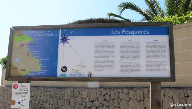 Imagen: Panel informativo a la llegada al mirador de Les Pesqueres de Jávea