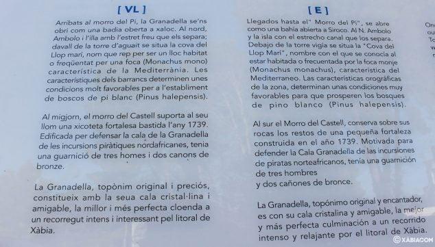 Imagen: Detalle del panel informativo en el mirador Castell de la Granadella