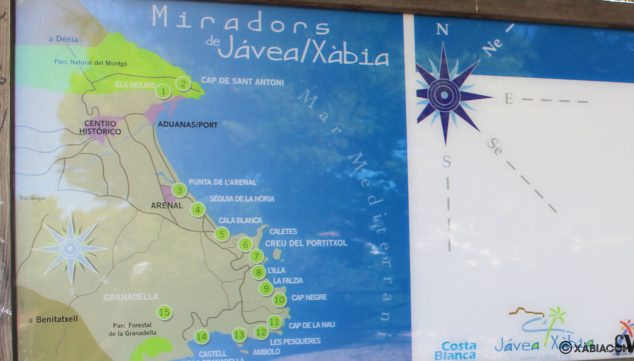 Imagen: Plano de la ruta de los miradores, en el que puedes encontrar Les Pesqueres