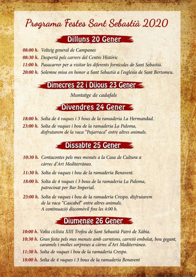 Imagen: Programación fiestas de Sant Sebastià Xàbia 2020