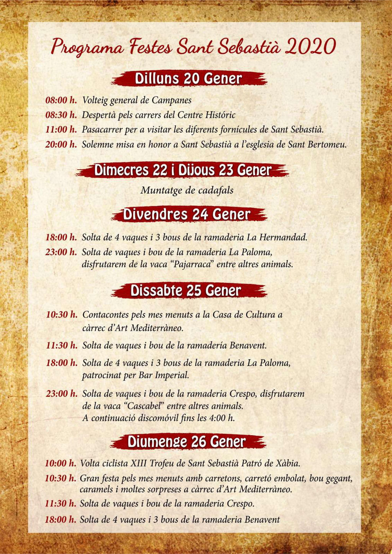 Festas de programação de Sant Sebastià Xàbia 2020