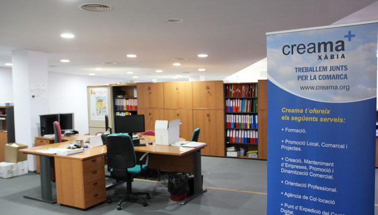 Instalaciones de la oficina de Creama Xàbia, compartidas con la ADL Xàbia
