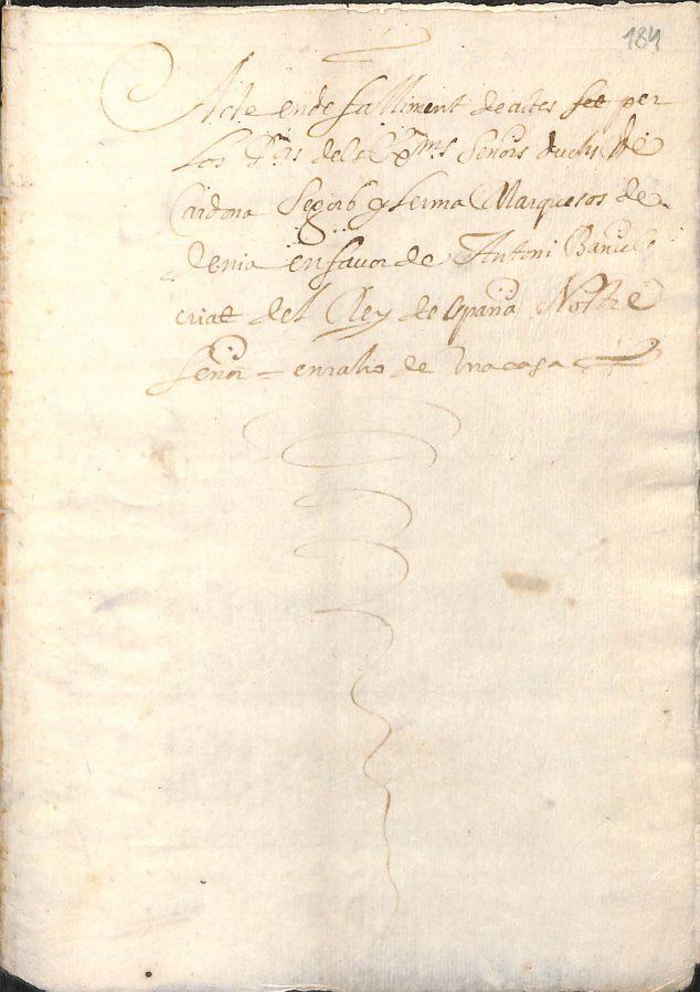 Imagen: Documento del Acte de Falliment d'Antoni Bañuls, datado en 1650 y conservado en el Arxiu Municipal de Xàbia