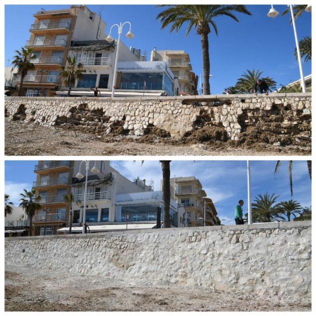 Imagen: Antes y después del muro de la Playa de la Grava