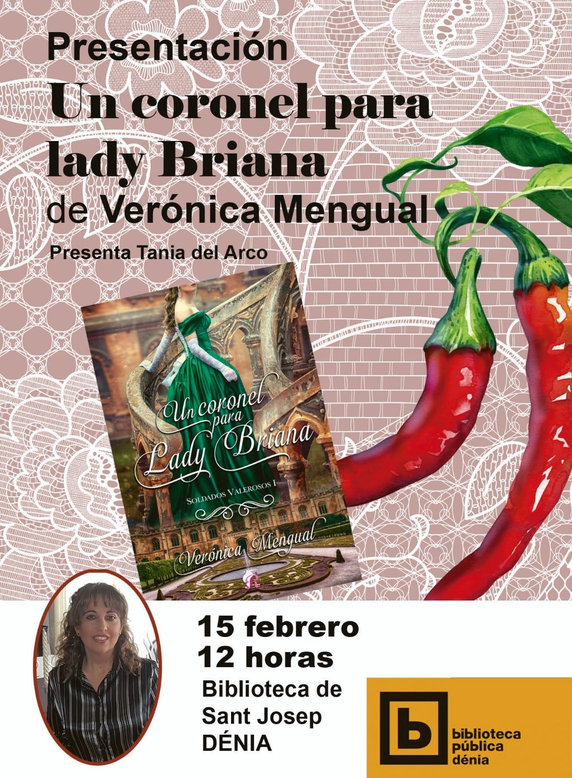 Cartel presentación del libro 'Un Coronel para Briana' de Verónica Mengual