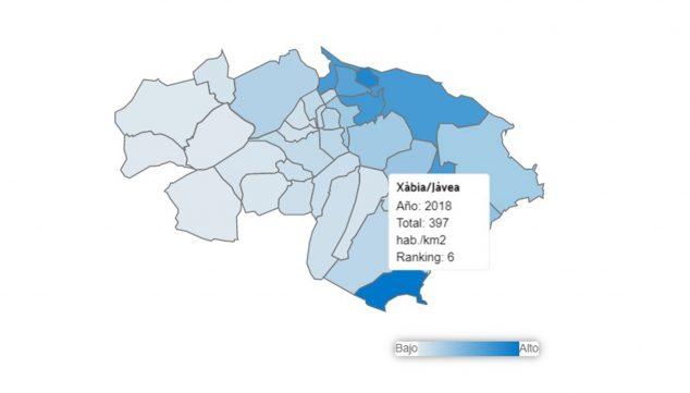Imagen: Densidad de población de Jávea en 2018, datos de L'Observatori