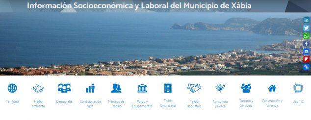 Imagen: Acceso a la información socioeconómica de Xàbia en la web de L'Observatori de la Marina Alta
