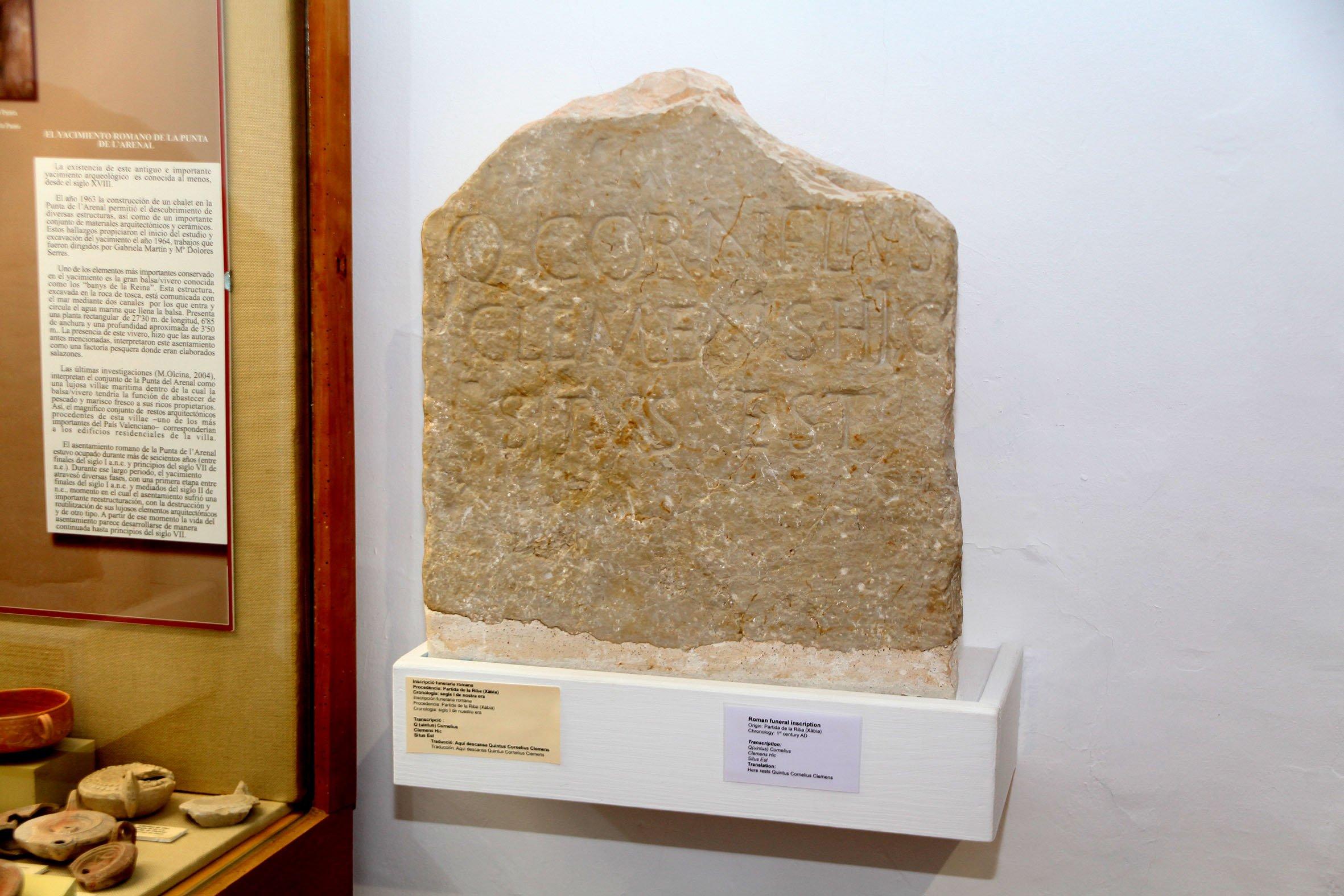 Inscripción funeraria romana