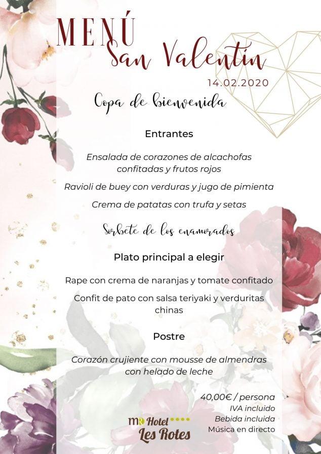 Imatge: Menú especial Sant Valentí 14 febrer 2020 - Hotel Les Rotes