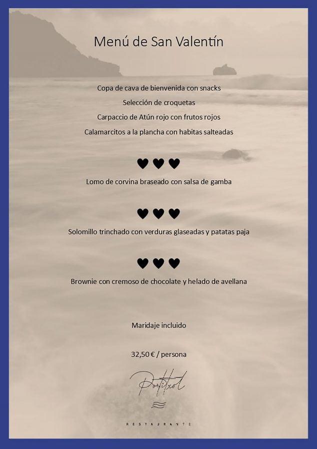 Imagem: Menu de São Valentim - Portitxol Restaurant