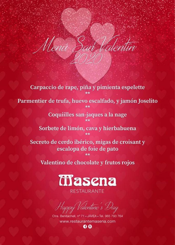 Menú de San Valentín en Restaurante Masena