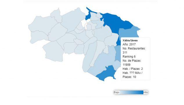 Imagen: Número de restaurantes en Jávea a fecha de 2017, según L'Observatori