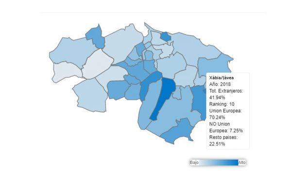 Imagen: Población extranjera en Jávea en 2018, según los datos de L'Observatori de la Marina Alta