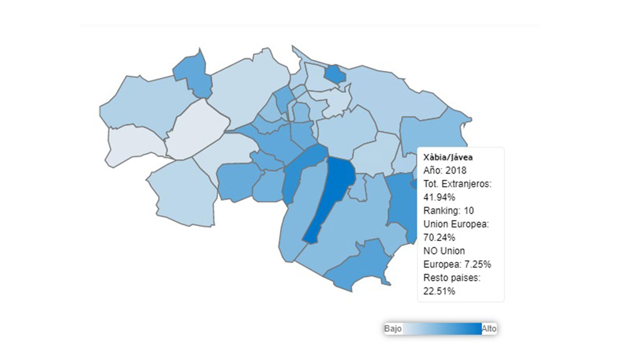 Población extranjera en Jávea en 2018, según los datos de L'Observatori de la Marina Alta