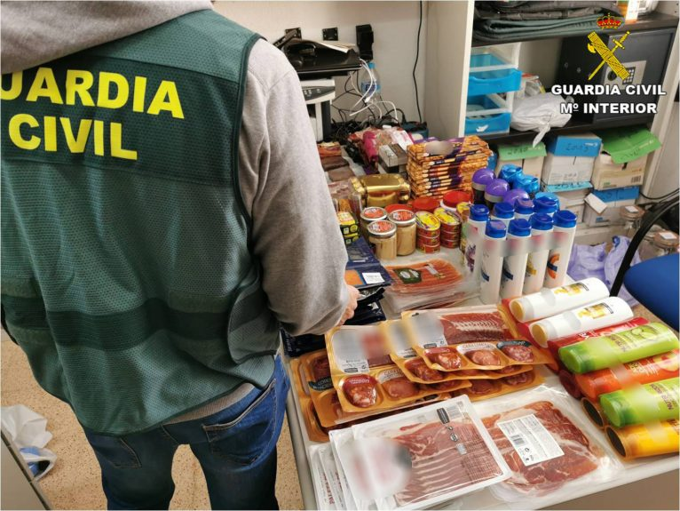 Productos recuperados por la Guardia Civil